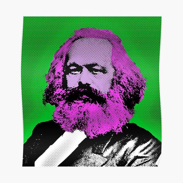 Kopie von Pop Art Marx im grünen Hintergrund Poster