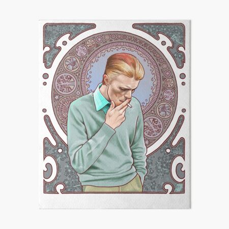 David Bowie in Mucha Art Board Print