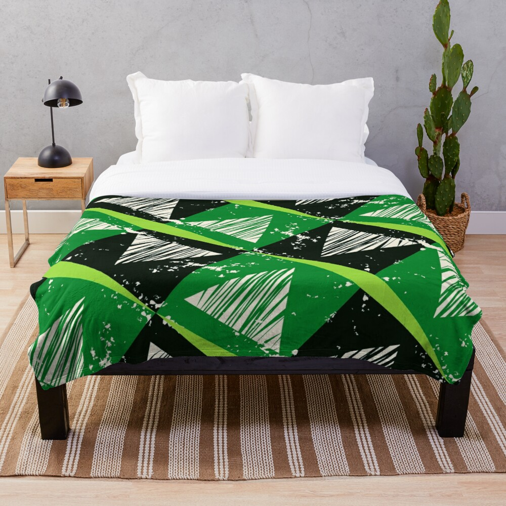 Funky Distressed Angles Art Deco Print Throw Blanket