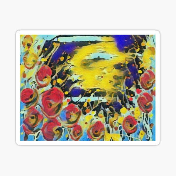 Poppy Garden 19 designed & created by (c) Janet Watson Art   Sticker