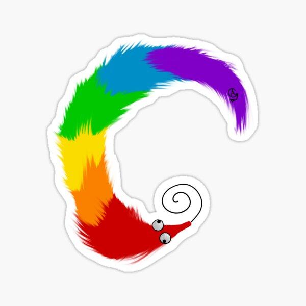 Rainbow Worm on a String Sticker
