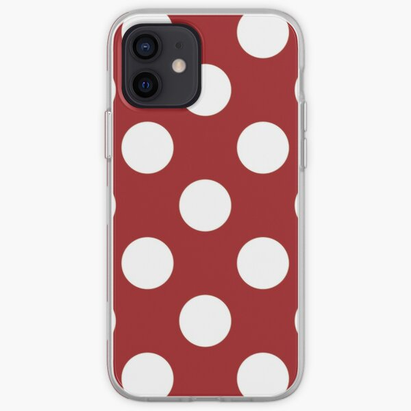 Polka Dots Large Pattern White and Red iPhone Soft Case