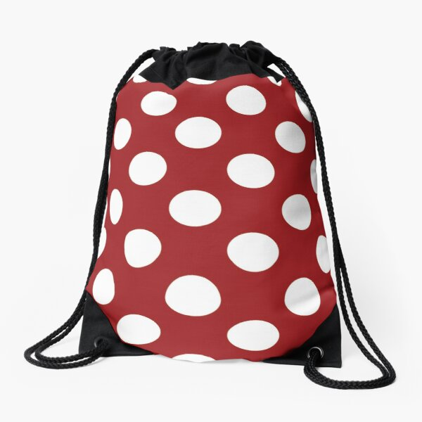 Polka Dots Large Pattern Blanc et Rouge Sac à cordon