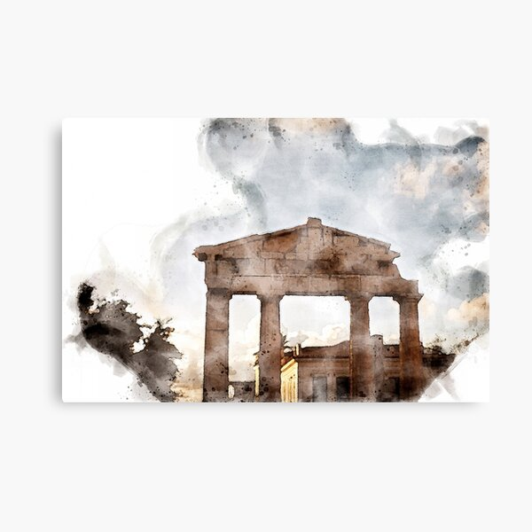 The Gate of Athena Archegetis Digital Watercolor Canvas Print