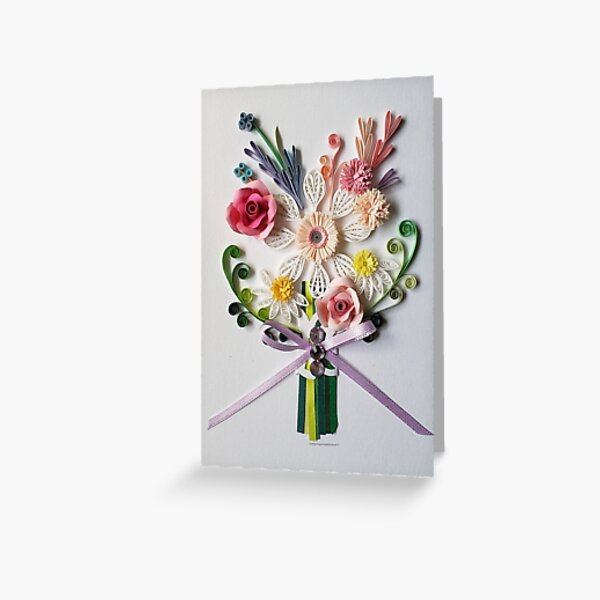 Paper Quilling Art.  flower bouquet card.Any Occasion. Anniversary. Birthday. Wedding. Mother's day gift. Love card Greeting Card