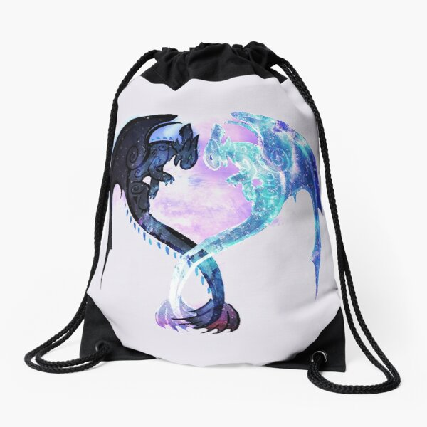 Dragon Heart Toothless and Light Fury Drawstring Bag