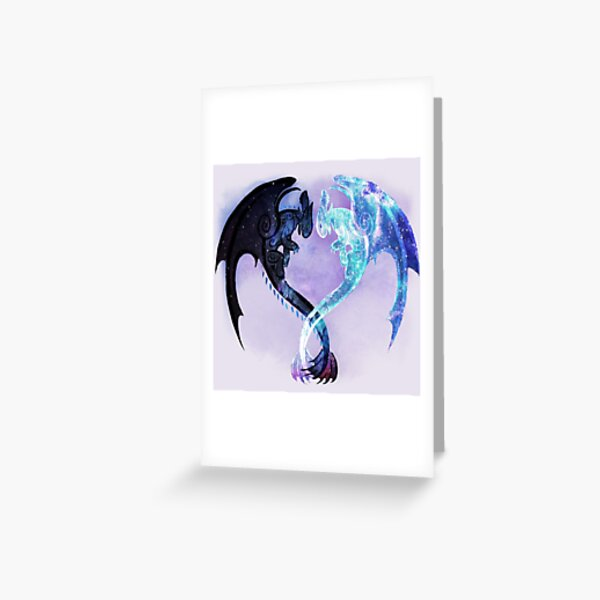 Dragon Heart Toothless and Light Fury Greeting Card