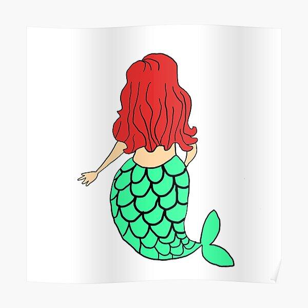 Little Mermaid Green Redhead Poster