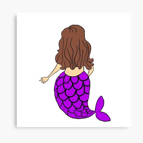 Little Mermaid Purple Brunette Canvas Print