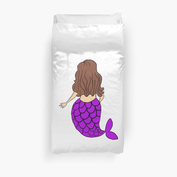 Little Mermaid Purple Brunette Duvet Cover