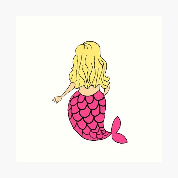 Little Mermaid Pink Blonde Art Print