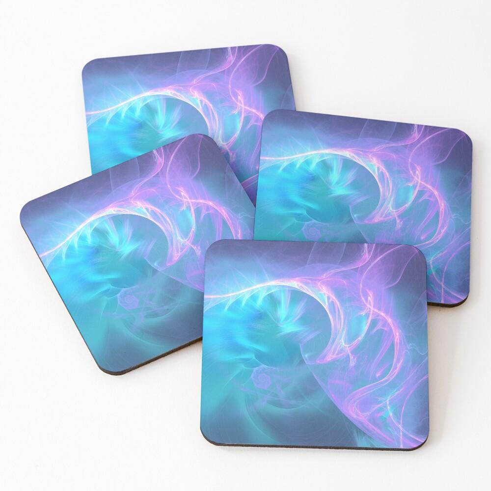 Liquid electricity fractal flames Coasters (Set of 4)