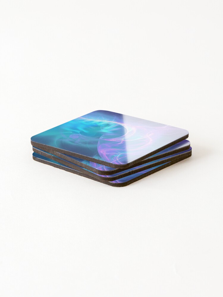Alternate view of Liquid electricity fractal flames Coasters (Set of 4)