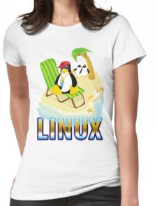 Funny with TUX (linux) Womens Fitted T-Shirt