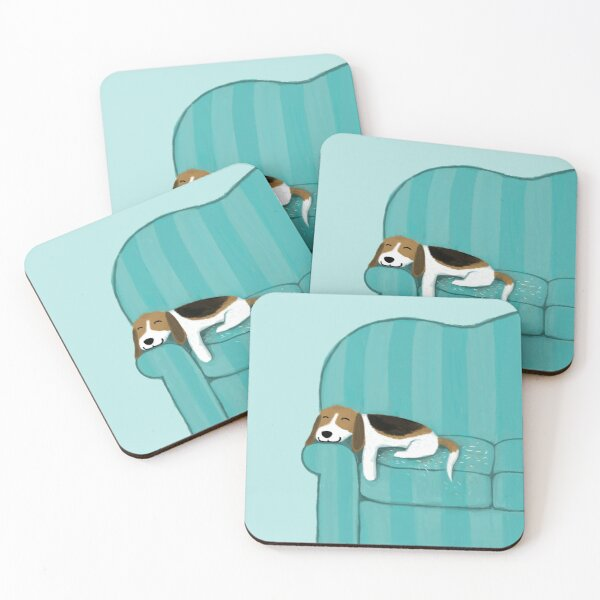 Happy Couch Dog | Cute Beagle Coasters (Set of 4)