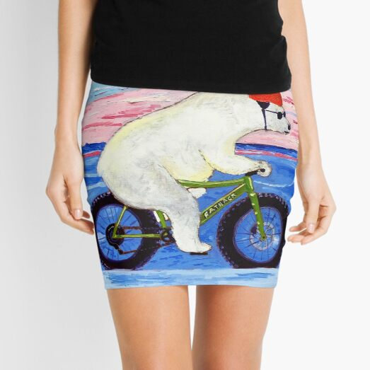 Polar Bear Riding a Fat Bike Mini Skirt