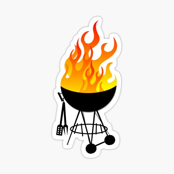 Flaming BBQ! Sticker