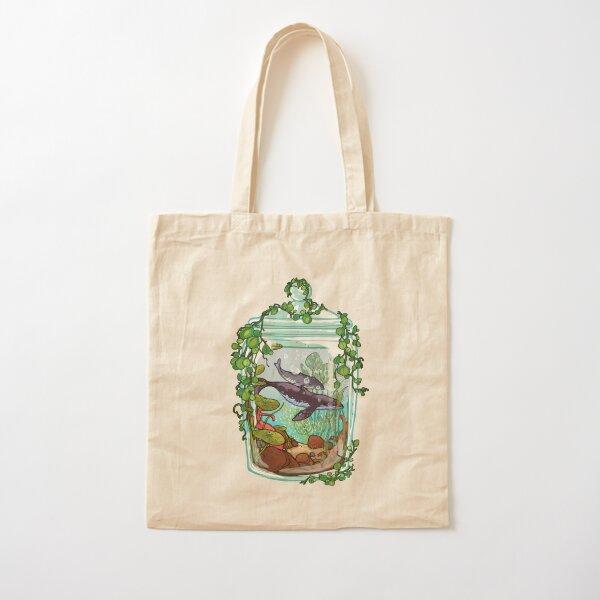 Whale Plant Terrarium Cotton Tote Bag