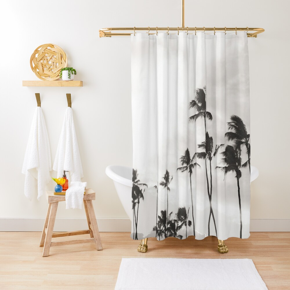 B&W Paia Palm trees Shower Curtain