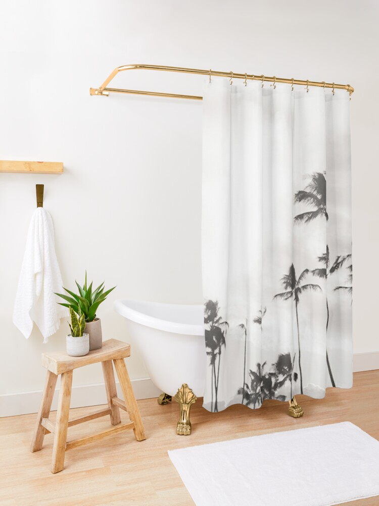 Alternate view of B&W Paia Palm trees Shower Curtain