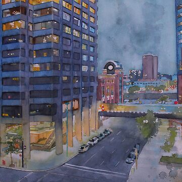 Two nights in Calgary, watercolor and mixed media on paper by sandrinepeli