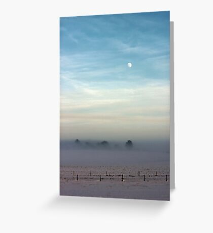 Snow, mist and moon Greeting Card
