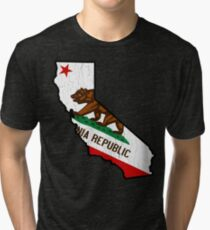 California State Bear Flag (vintage distressed design) Tri-blend T-Shirt