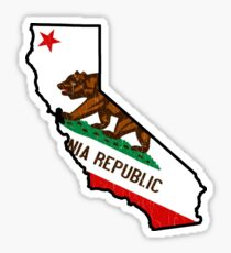 California State Bear Flagge (Vintage Distressed Design) Sticker