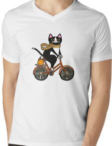 Cat on a Bicycle  Mens V-Neck T-Shirt