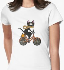 Cat on a Bicycle  Women's Fitted T-Shirt