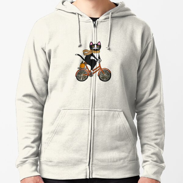 Cat on a Bicycle  Zipped Hoodie