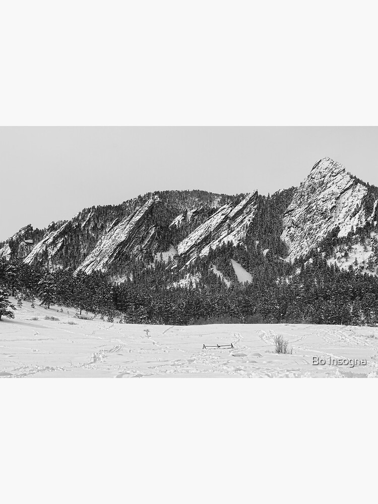 Boulder Colorado Flatirons With Snow BW by mrbo