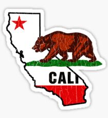 California Bear Flag (Distressed Vintage-Design) Sticker