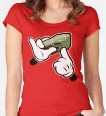 Make It Rain Cartoon Hands (Ghetto Fat Stack) Women's Fitted Scoop T-Shirt