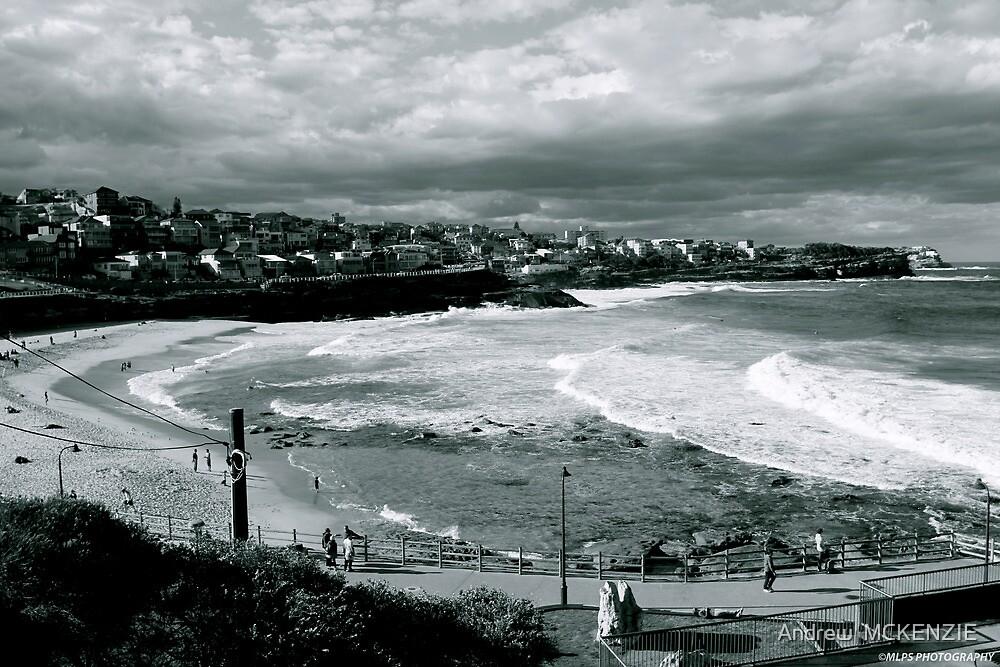 Bronte Beach Black and White by Andrew  MCKENZIE