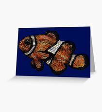 Coloured Clownfish Line Drawing (Airbrush) Greeting Card