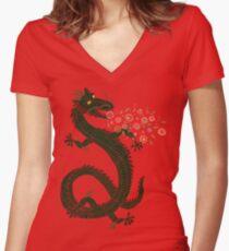 Dragon, Flower Breathing Women's Fitted V-Neck T-Shirt