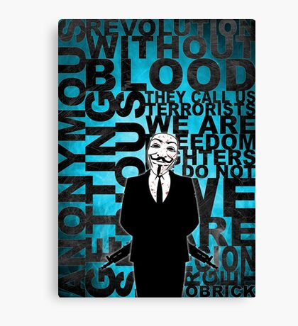 Anonymous revolution without blood ? Cyan Canvas Print