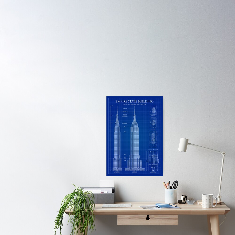 Empire State Building (Blueprint) Poster
