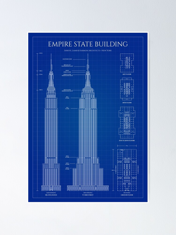 Alternate view of Empire State Building (Blueprint) Poster