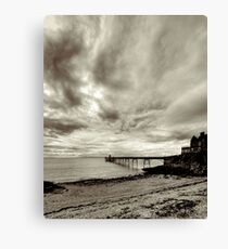 Clevedon Pier with storm clouds Canvas Print