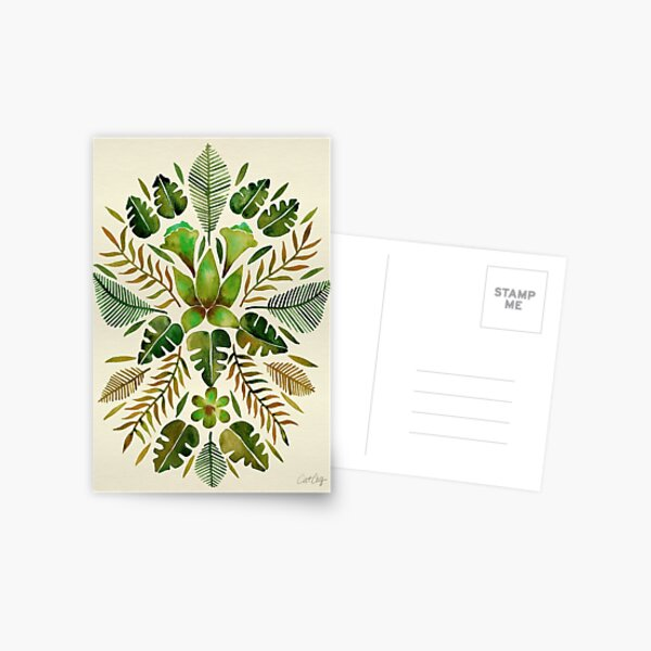 Tropical Symmetry – Olive Green Postcard
