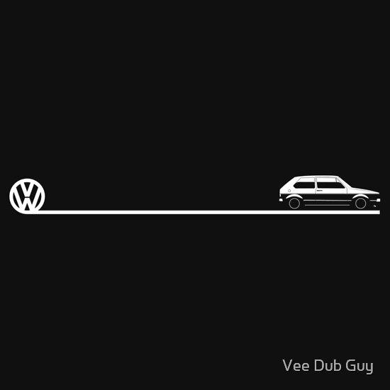 Mk1 Golf Silhouette And Logo A T Shirt Of Rabbit Blue Volkswagen