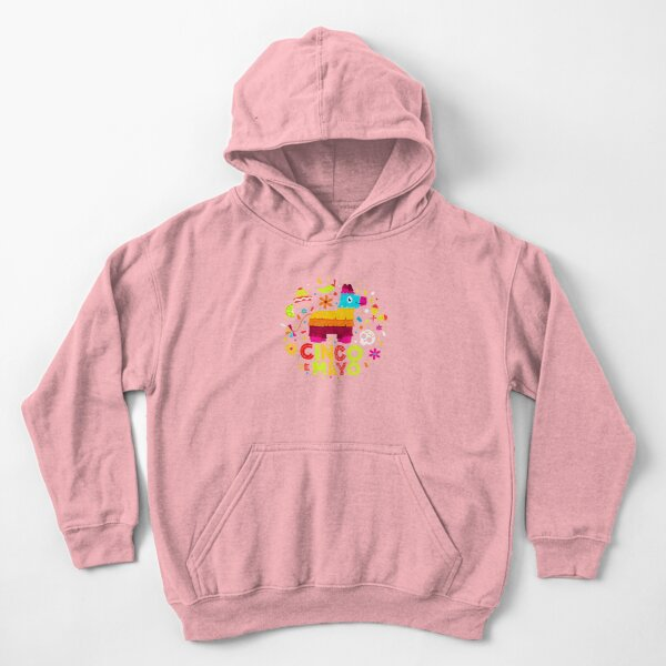 Cinco de Mayo colorful Mexican pinata sombrero hat on top of a mustached Kids Pullover Hoodie