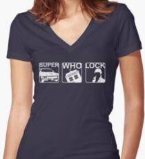 SuperWhoLock Horizontal Women's Fitted V-Neck T-Shirt