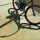 """Splash of Red"" - bicycle oil painting by LindaAppleArt"