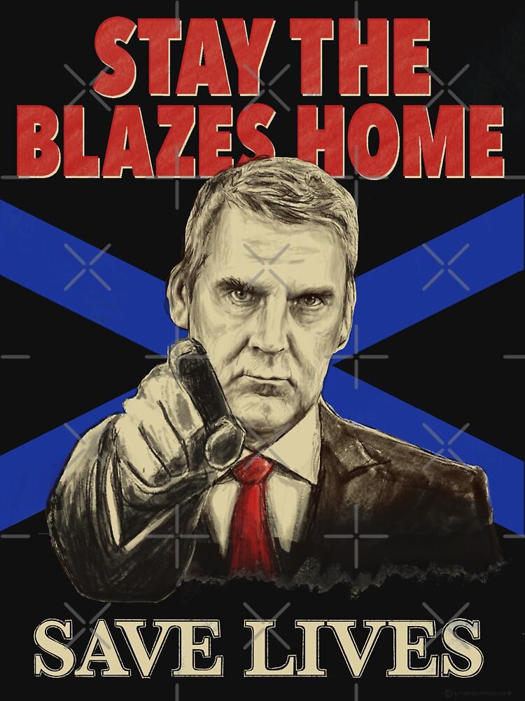 Stay the Blazes Home for dark shirts by GlowbugDesign