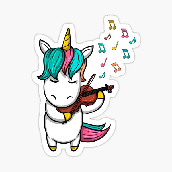 Cute unicorn playing the violin i music gift concert notes Sticker
