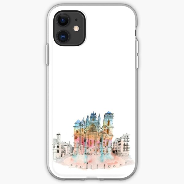 Sketch of Rodez cathedral iPhone Soft Case