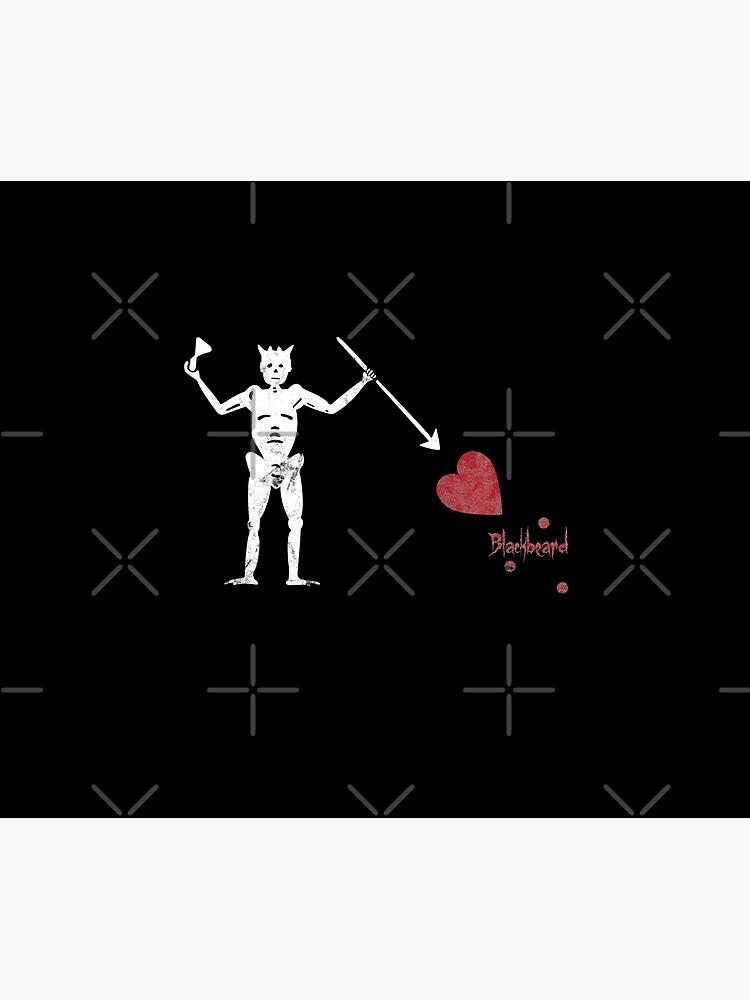 Pirate Flag of Blackbeard Jolly Rodger Fans Original Love Heart Blackbeard Flag Graphic  by thespottydogg